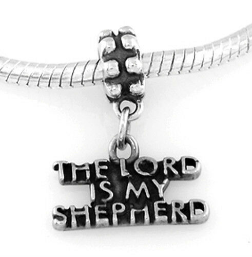 SILVER DANGLE THE LORD IS MY SHEPHERD EUROPEAN BEAD