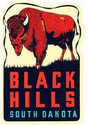 Black Hills-  South Dakota  SD      Vintage 1950's-Style  Travel Decal/Sticker