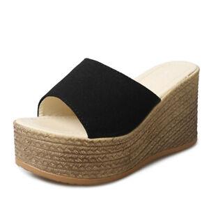 Womens Slip On Flatform Sandals Ladies Summer Beach Platform Wedge Shoes Mules