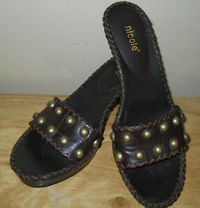 NICOLE WOMENS BOUTIQUE DRESSY SLIDE SLIP ON SANDALS SHOES SIZE 7 GREAT CONDITION
