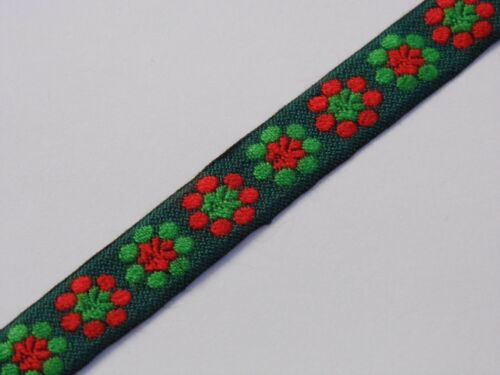 green flowers vintage jacquard woven 15MM R026