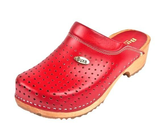 Uomo Wooden  clogs  Red color  Swedish style  US Shoe Size