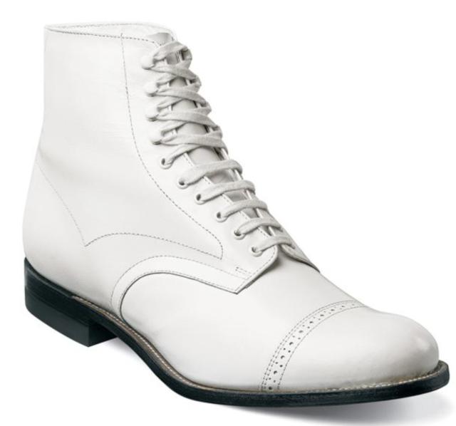 23022e3b4d1 Stacy Adams Mens Madison Cap-toe Boot White 11 D