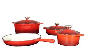 a264de6938 Das Bild wird geladen Kochtopf-Set-Topfset-Gusseisen -Bratpfanne-Kochtoepfe-Braeter-Backofen-
