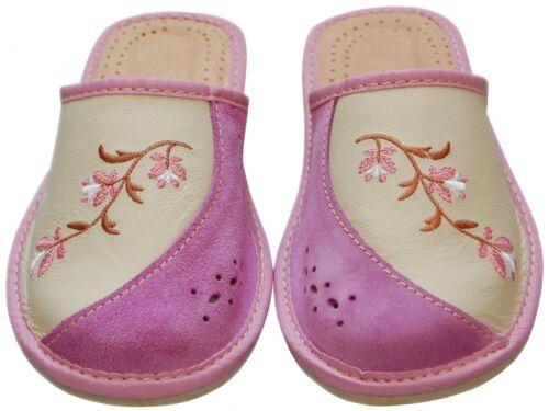 Echtleder JAD-20 Latschen,Pantoffeln Damen Hausschuhe Größe 36-41