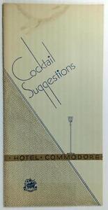 1938 Original Cocktails Drinks Liquor Menu THE COMMODORE HOTEL New York