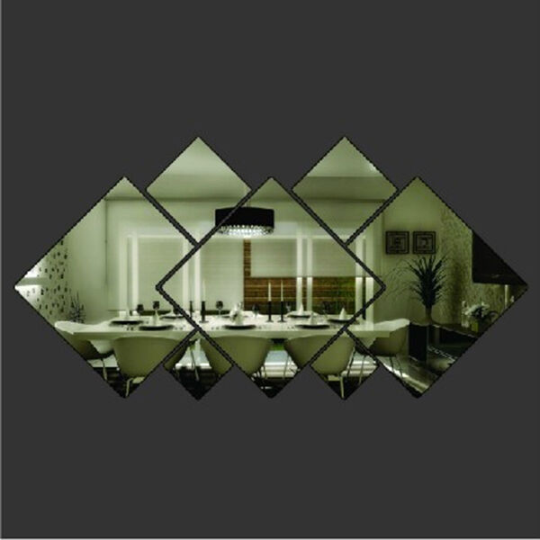 Diamond Shape Acrylic Mirror Silver Wall Sticker Window Glass Tile Decal