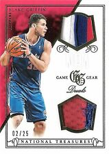 Blake Griffin 2013-14 National Treasures NBA Game Gear Duals 3-Color Patch 2/25