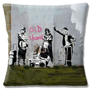 Banksy-Graffiti-Artist-Cushion-Cover-Old-Skool-Old-People-Zimmer-Frame-Music