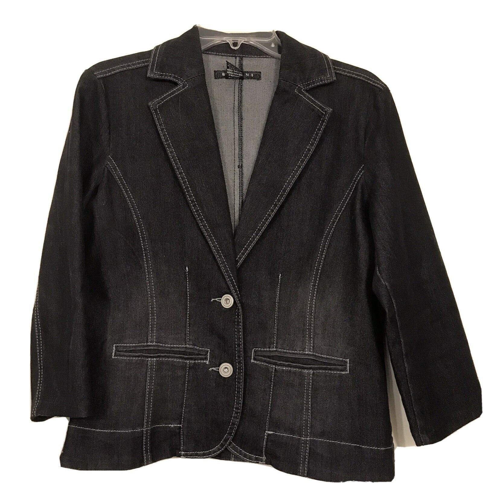 Baccini Women's Black Denim Career Casual Jacket 3/4 Sleeve Cropped Sz M EUC