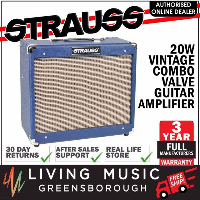 NEW Strauss 20 Watt Combo Valve Electric Guitar Amp Amplifier (Blue)