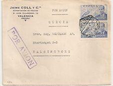 COVER SPAIN ESPAGNE ESPANA VALENCIA TO SWEDEN. POR AVION. L 474