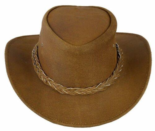 Cowboy Western Aussie Style En Daim Marron Clair Bush Cuir Chapeau-expédition rapide