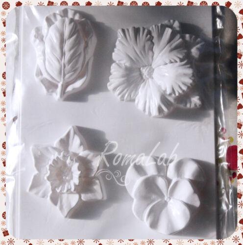 STAMPO con 4 FORMINE fiori flower MOLD FORMINA STAMPO per colate FORMINA STAMPI