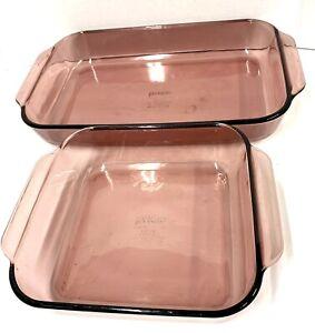 Vintage Pyrex Casserole Dishes Set Of 2 3 QT 233-R AND 2 QT 222-R EUC Amethyst