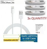 3X Apple USB Charger Lightning Sync Data Cable Lead Genuine for iPhone 7 &7PLUS+