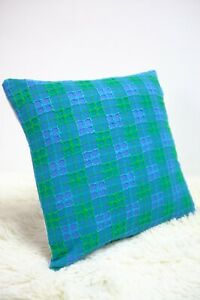 Retro-Fabric-Cushion-Cover-70s-16x16-034-Blue-Green-Quilt-Fabric