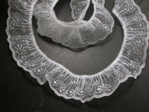 """1.3//4/"""" White /& Silver Gathered Lace x 3 yds 45mm"""