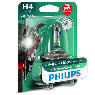 Philips Xtreme Vision Moto H4 100% More Light Motorcycle Headlight Bulb (Single)