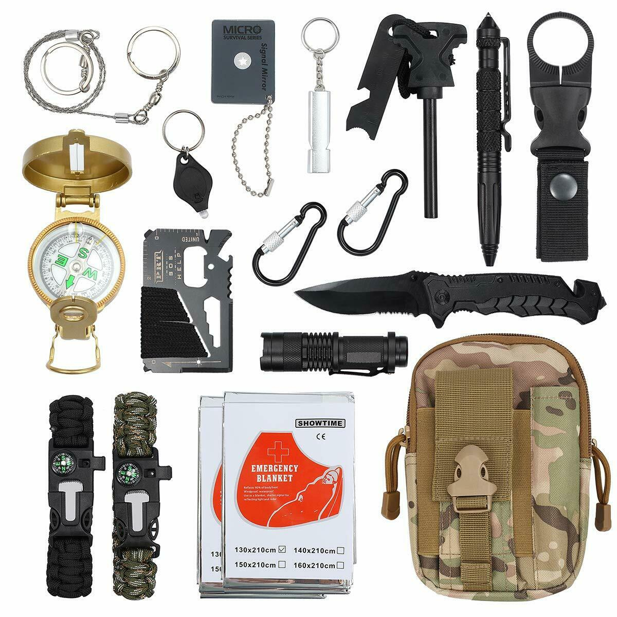 18 in  1 Outdoor Camping Survival Gear Kits Emergency Kit EDC Tactical Molle Bag  high quality & fast shipping