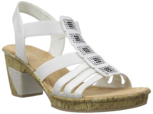 Slingback Slip Open Block 69761 Rieker White Sandals Toe On Strappy Summer Ladies Heel aOwxFw0