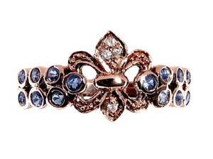 R132-Genuine-9K-Rose-Gold-Natural-Sapphire-Diamond-Fleur-de-lise-Ring-in-yr-size