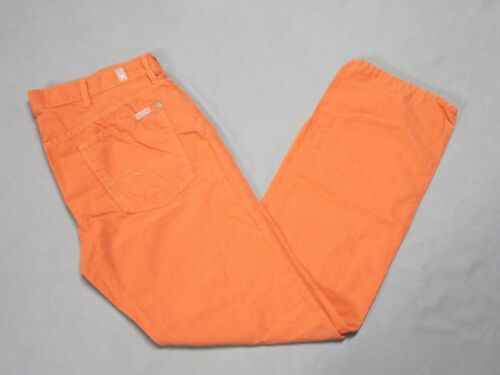 SEVEN 7 FOR ALL MANKIND MENS STANDARD FIT ORANGE SALMON LINEN PANTS SIZE 36 NEW