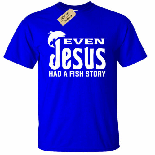 Enfants Garçons Filles même Jésus avait un poisson histoire Hommes T Shirt Drôle Religieux de pêche