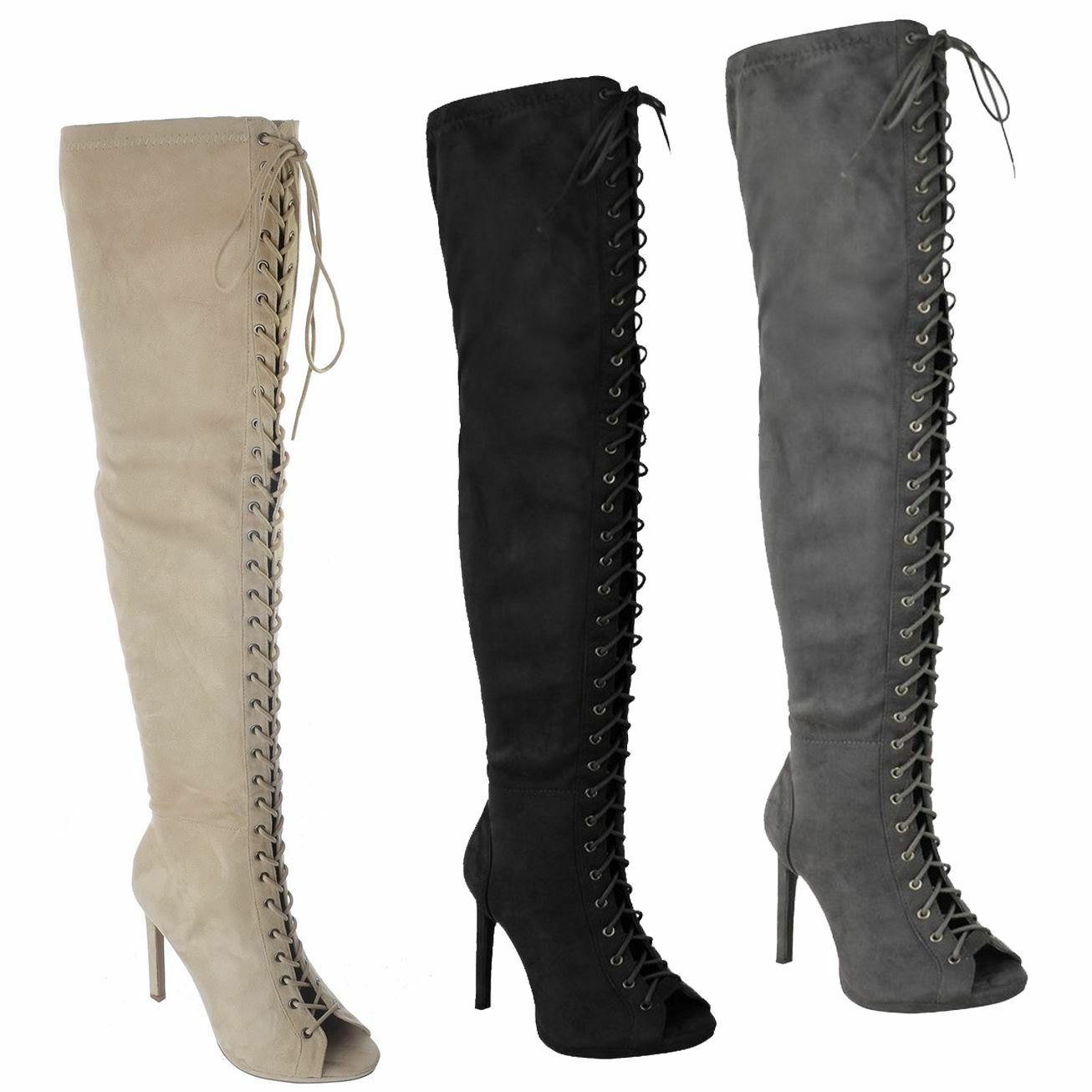 WOMENS LADIES OVER THE KNEE THIGH HIGH PEEP TOE LACE UP STILETTO HEEL BOOTS SIZE