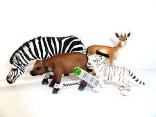 W15) Schleich Wildlife Set von Zebra Büffel Gazelle Tiger 4 Schleichtiere