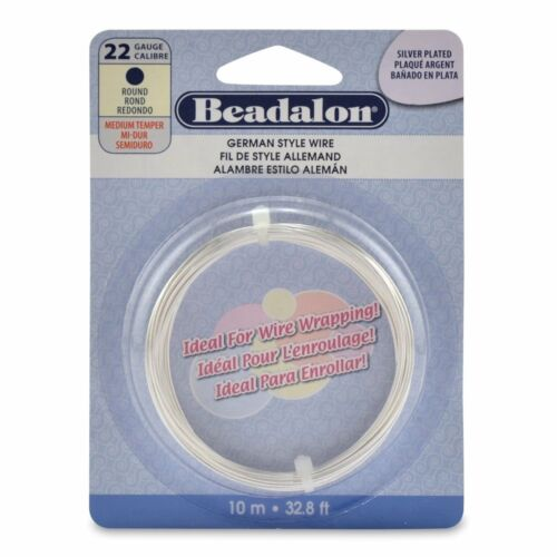 32.8ft Coil 22 Gauge Silver Plate Beadalon Round German Craft Wire