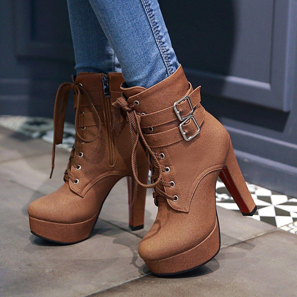 Gr33-48 Damenschuhe 47 Damenstiefel 46 Block Hoher Bbsatz Knight Stiefel Schuhe