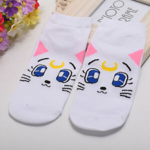 4c10abaf2be Details about Lolita Girls Low Cut Ankle Socks Cartoon Sailor Moon Cat Luna  Bowknot Socks