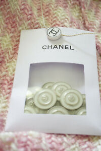 12-Twelve-Price-for-12-pieces-Vintage-Chanel-CC-Buttons-white-silver-medium