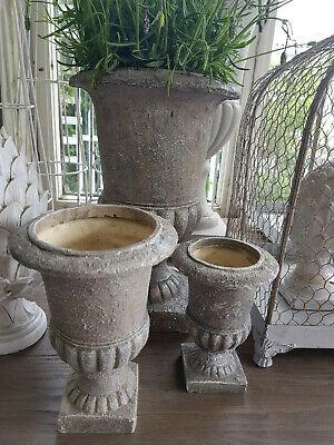 Pokal Amphore Blumentopf Weiß Shabby Vintage Landhaus Garten Nostalgie 4 Größen