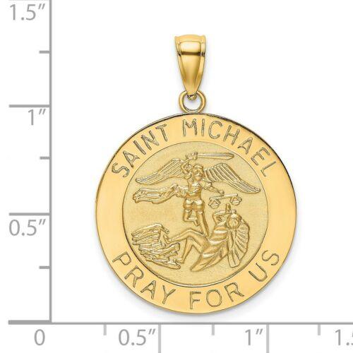 14k or Jaune priez pour nous Saint Michael mots sur médaille pendentif 3.64 G