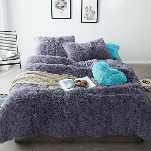 4Pcs Soft Fur Warm Winter Duvet Quilt Cover Bed Sheet Bedding Set High Quality
