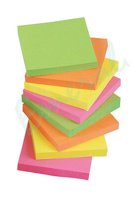 "1200 NEON Remove It Sticky Post Notes 76mm x 76mm 3"" x 3"" (12 packs of 100)"