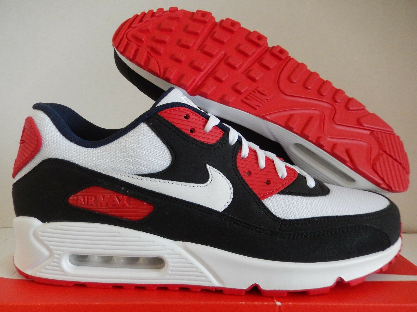 NIKE AIR MAX 90 ID BLACK-WHITE-RED-NAVY BLUE SZ 12.5