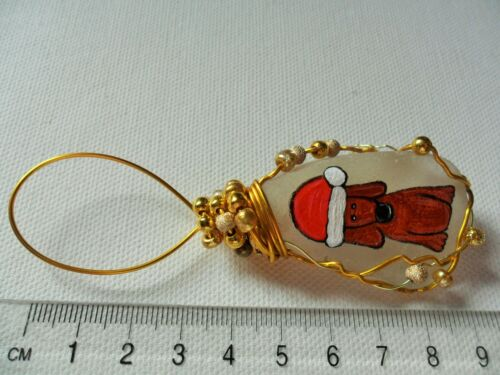 Santa hat puppy dog floppy ear Hand painted sea glass Christmas tree decoration