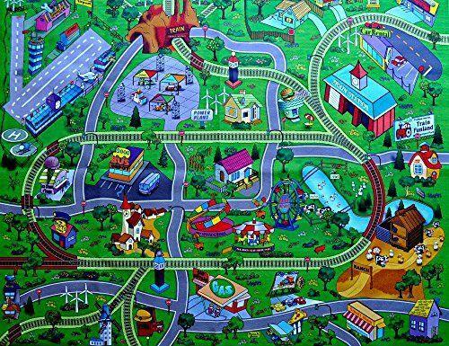 Large Town Airport Train Track Street Road Play Mat Car Farm Kid Big Rug Home