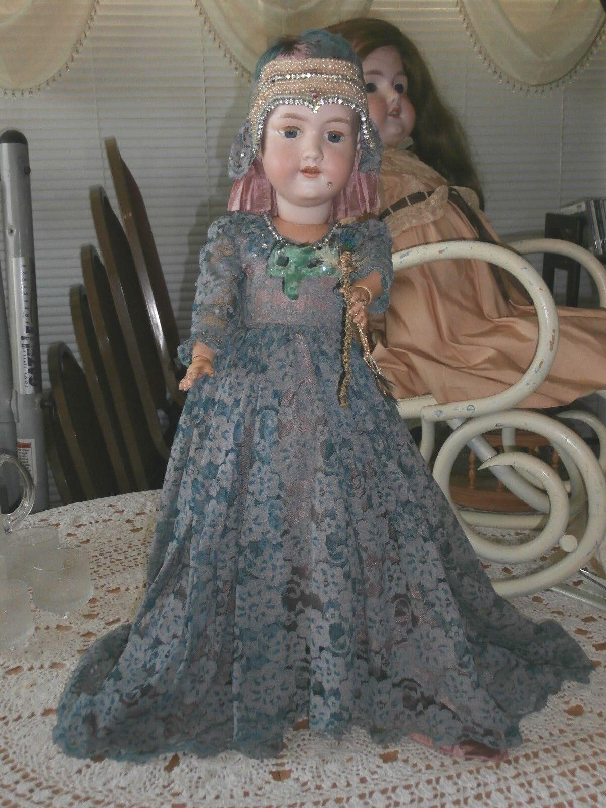 Antigua Muñeca Alemana Armand Marseille Mascarada 390n cabeza de Biscuit Compo cuerpo 24