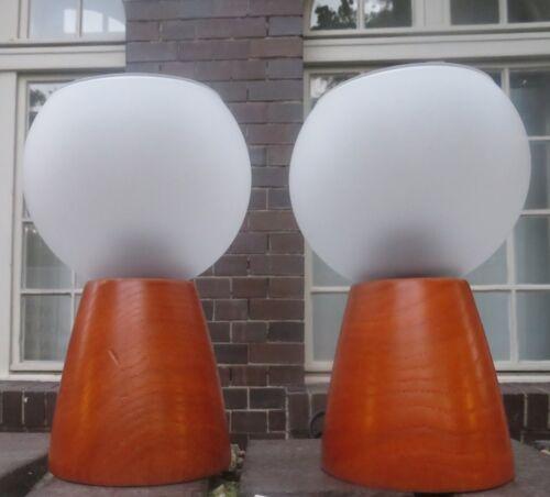 2x Lampes de Table Lumière Nuit Bois Lecture Maison Campagne H:15cm