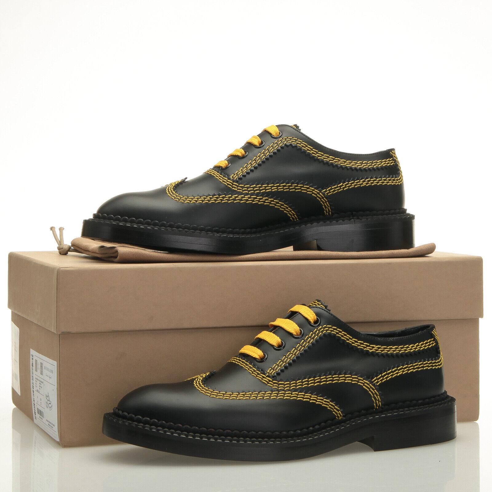 BURBERRY Bertram cuir noir jaune surpiqûres derbies-Taille 7 7 7 US (37 EU) 6442da