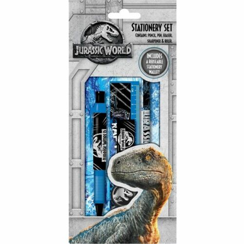 Jurassic World Set Papelería Lápiz Pluma Borrador Sacapuntas Regla Cartera Reutilizable