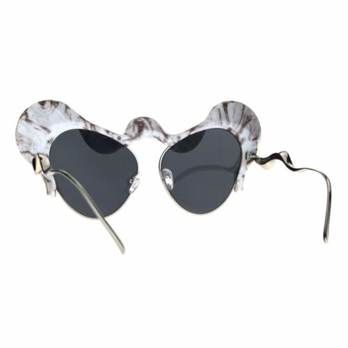 Womens Sunglasses Super Unique Wavy Cloud Top Cateye Frame UV 400