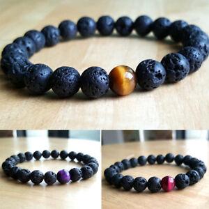 Hot-Mens-Lava-Rock-Tigers-Eye-Mala-Beads-Yoga-Beaded-Energy-Bracelet-Jewelry