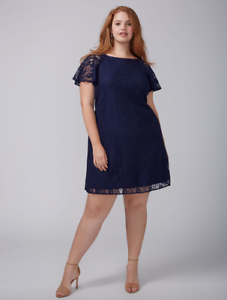 Lane Bryant Flutter Sleeve Lace Swing Dress Women Plus 24 28 New Navy Blue 3x 4x