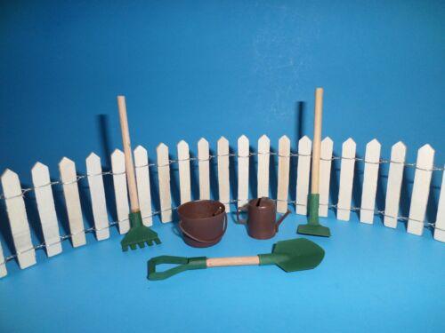 MINIATURE FAIRY GARDEN KIT BASIC:PICKET FENCE GARDEN TOOLS WATER CAN /& BUCKET