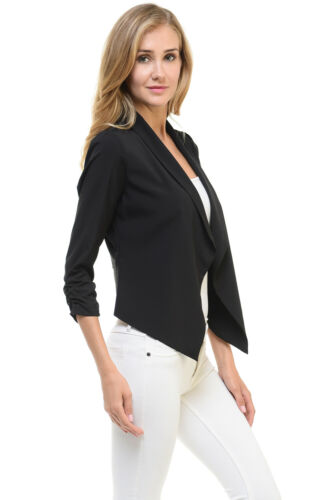 Auliné Collection Womens Casual Lightweight 3//4 Sleeve Fitted Open Blazer